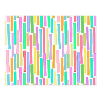 Bright colorful mini stripes fun pattern painting postcard