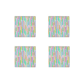 Bright colorful mini stripes fun pattern painting stone magnet