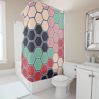 Bright Colorful Modern Hexagons Pattern Shower Curtain