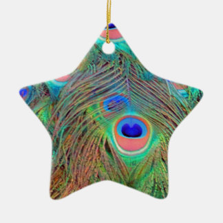 Bright Colorful Peacock Feathers Christmas Ornament