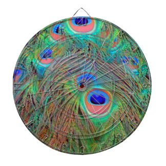Bright Colorful Peacock Feathers Dartboard