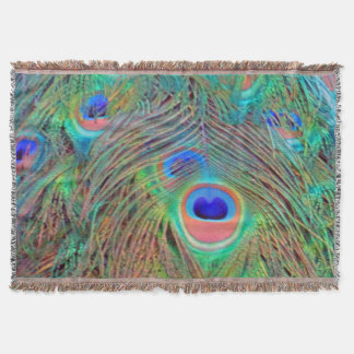 Bright Colorful Peacock Feathers Throw Blanket