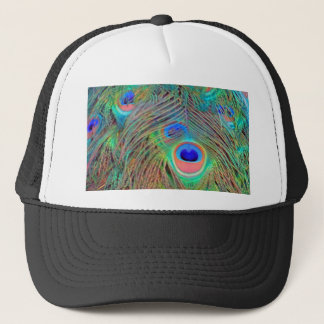 Bright Colorful Peacock Feathers Trucker Hat