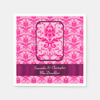 Bright colorful Pink wedding damask pattern Disposable Serviette