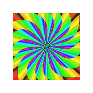 Bright Colorful Pinwheel Fractal Stretched Canvas Prints