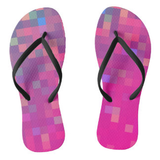 Bright & Colorful Pixel Pattern Flip Flops