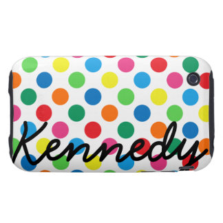 Bright Colorful Polka Dots Tough iPhone 3 Case
