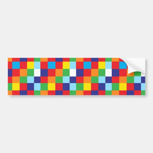 Bright Colorful Quilt Squares Pattern Blue Red Bumper Sticker