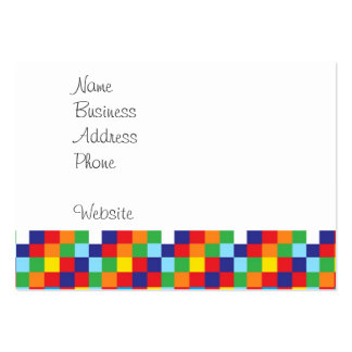 Bright Colorful Quilt Squares Pattern Blue Red Pack Of Chubby Business Cards