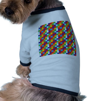 Bright Colorful Quilt Squares Pattern Blue Red Pet Tee