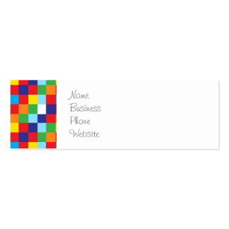 Bright Colorful Quilt Squares Pattern Blue Red Pack Of Skinny Business Cards