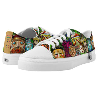 Bright Colorful Quirky Tribal Masks Printed Shoes