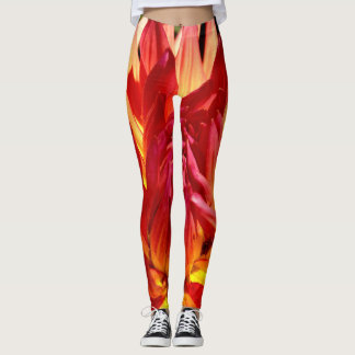 Bright colorful red & orange flower close-up photo leggings