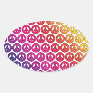 Bright Colorful Retro Rainbow Peace Symbols Oval Sticker
