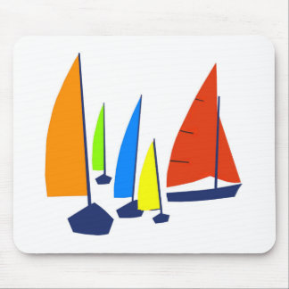 Bright colorful sailboats mouse mat