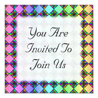 Bright Colorful Stained Glass Style Pattern. 13 Cm X 13 Cm Square Invitation Card