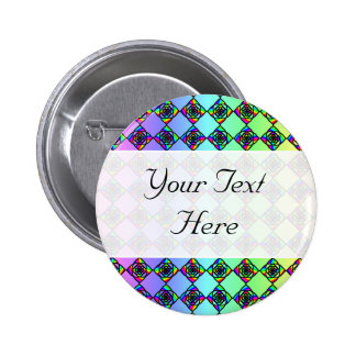 Bright Colorful Stained Glass Style Pattern. 6 Cm Round Badge