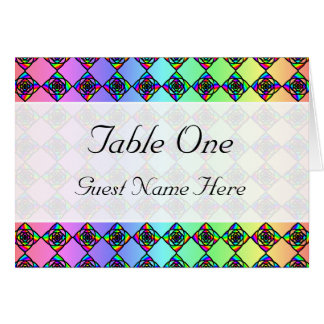 Bright Colorful Stained Glass Style Pattern. Note Card