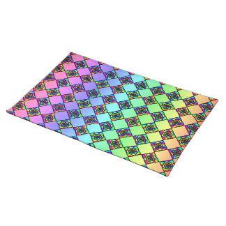Bright Colorful Stained Glass Style Pattern. Place Mats
