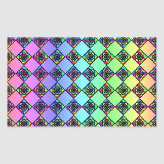 Bright Colorful Stained Glass Style Pattern. Rectangular Sticker