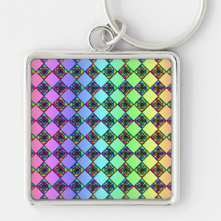 Bright Colorful Stained Glass Style Pattern. Silver-Colored Square Key Ring