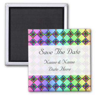 Bright Colorful Stained Glass Style Pattern. Square Magnet
