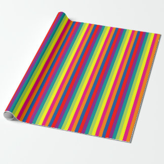 Bright colorful stripe pattern Chrismas Holiday Wrapping Paper