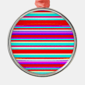 Bright Colorful Stripes in Red Turquoise Hot Pink Christmas Ornament