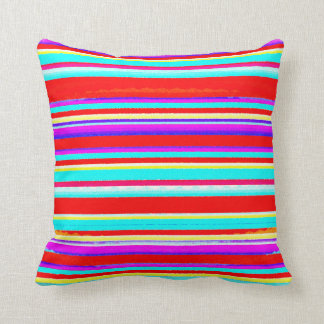 Bright Colorful Stripes in Red Turquoise Hot Pink Cushion