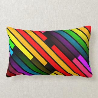 Bright Colorful Stripy Teen Boys Mens 3D Pattern Lumbar Pillow