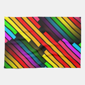 Bright Colorful Stripy Teen Boys Mens 3D Pattern Tea Towel
