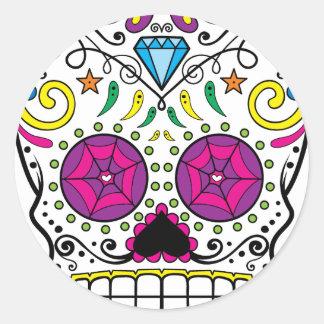 Bright Colorful Sugar Skull-Dia Des Los Muertos Classic Round Sticker