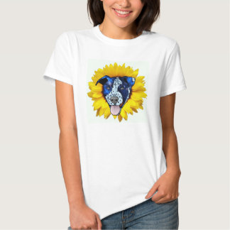Bright & Colorful Sunflower Pitbull Design Top Tees