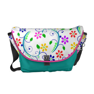Bright, Colorful Swirly Flowers - Pink/Blue Trim Courier Bags
