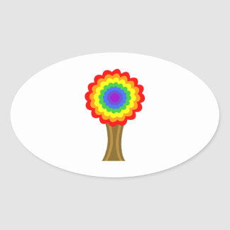 Bright Colorful Tree in Rainbow Colors. Oval Sticker