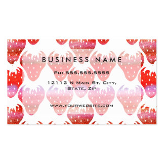 Bright Colorful Watercolor Fruity Strawberries Pack Of Standard Business Cards