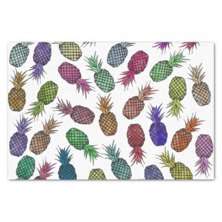 Bright Colorful Watercolor Tropical Pineapples Tissue Paper