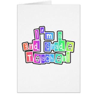 Bright Colors 3rd Grade Teacher Greeting Card