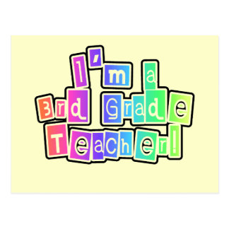 Bright Colors 3rd Grade Teacher Postcard