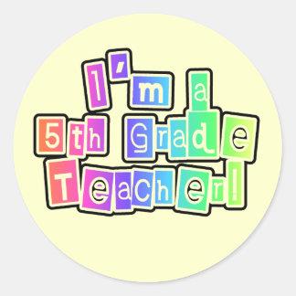 Bright Colors 5th Grade Teacher Round Stickers