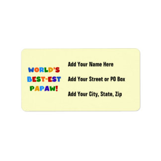 Bright Colors Best-est Papaw Tshirts and Gifts Address Label