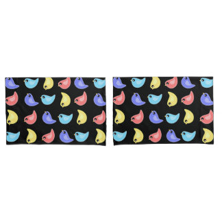 Bright colors cute bird pattern pillowcase