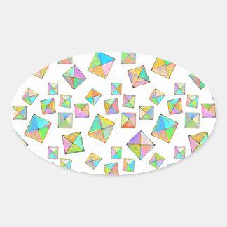 Bright colors fun pattern modern art painting oval sticker