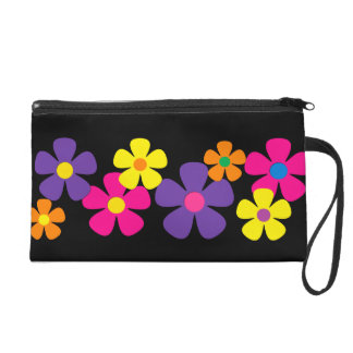 Bright Colors Hippie Flowers Wristlets