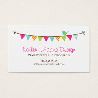 Bright Colors Patterned Bunting and Cute Bird