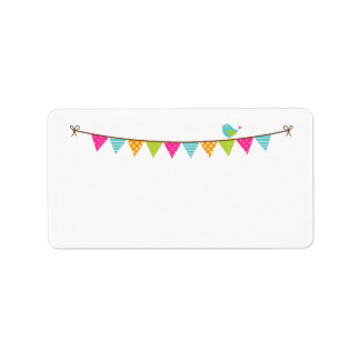Bright Colors Patterned Bunting and Cute Bird Address Label