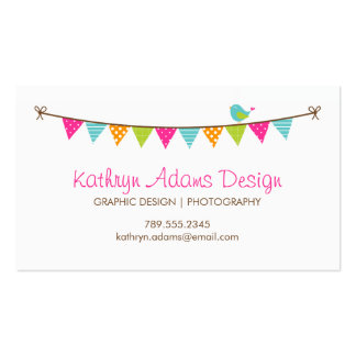 Bright Colors Patterned Bunting and Cute Bird Pack Of Standard Business Cards