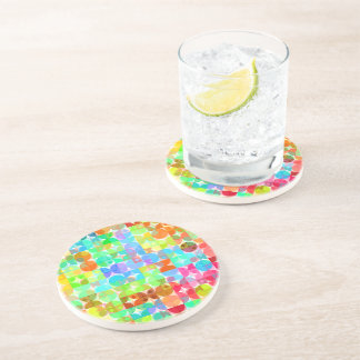 Bright Colors Retro Squares Circles Mosaic Pattern Coaster