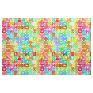 Bright Colors Retro Squares Circles Mosaic Pattern Fabric
