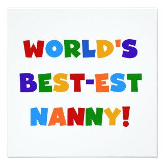 Bright Colors World's Best-est Nanny Gifts 13 Cm X 13 Cm Square Invitation Card